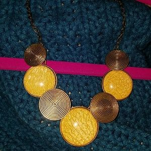 Yellow Shimmer Circle Necklace